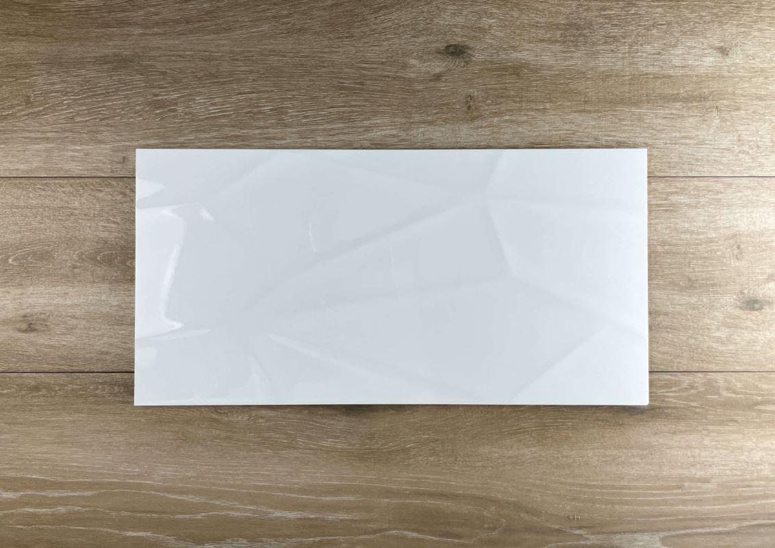 Diamond 3D Effect White Gloss Rectified Ceramic Wall Tile 3343