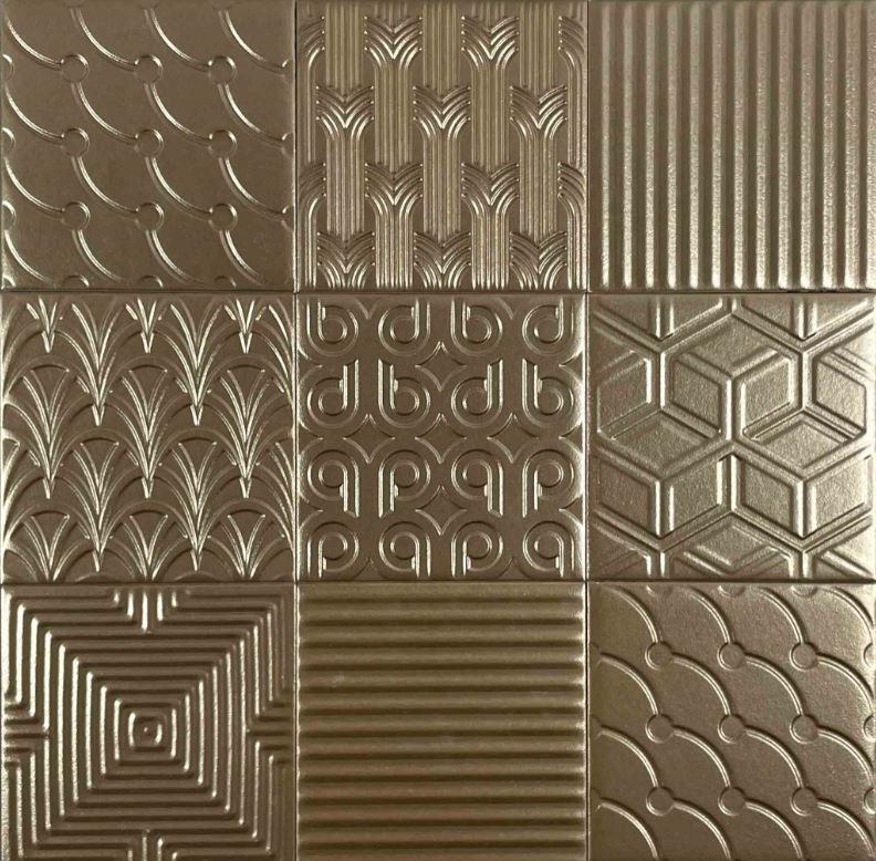 Mixed Pattern Bronze Finish Spanish Wall Tile 3709