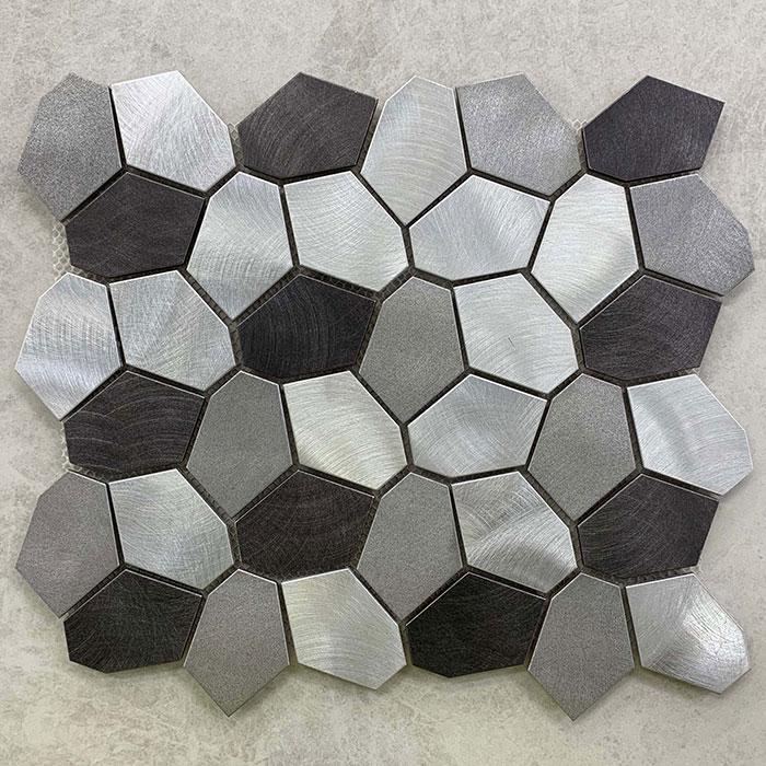 300x300mm 3D Black & Silver Aluminium Mosaic 7518