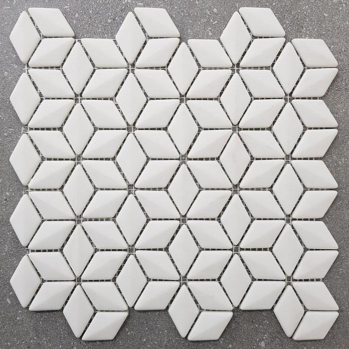 298x260mm 3D Effect Diamond White Glass Mosaic 7447