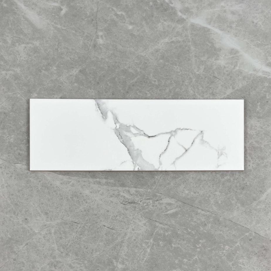 Carrara Look Gloss Non Rectified Ceramic Subway Wall Tile 4213