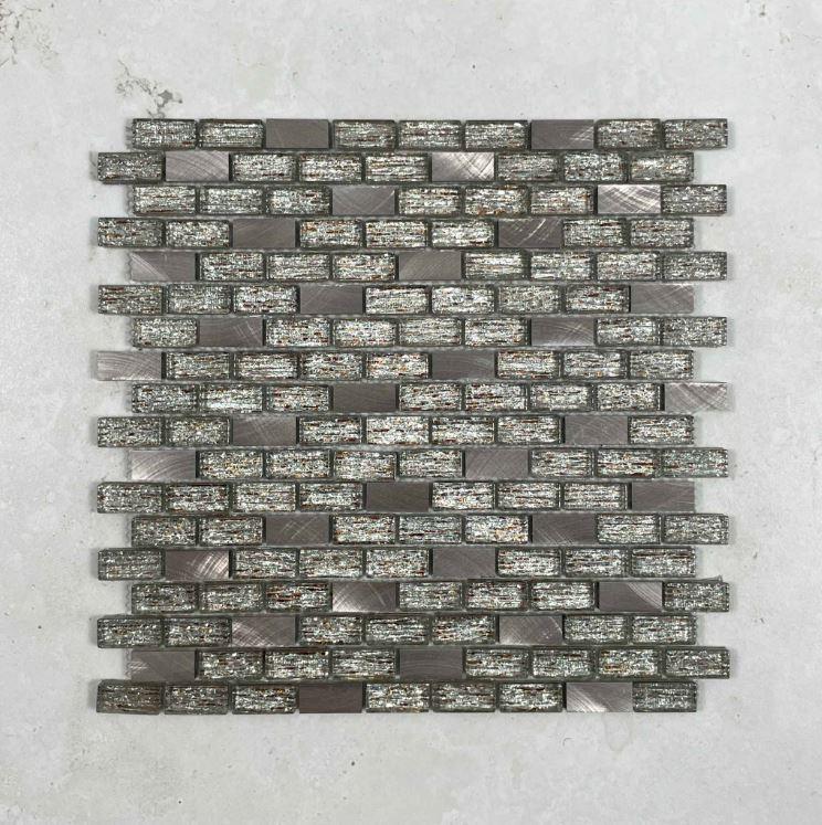 Mocha Glass & Aluminium Mosaic 7109