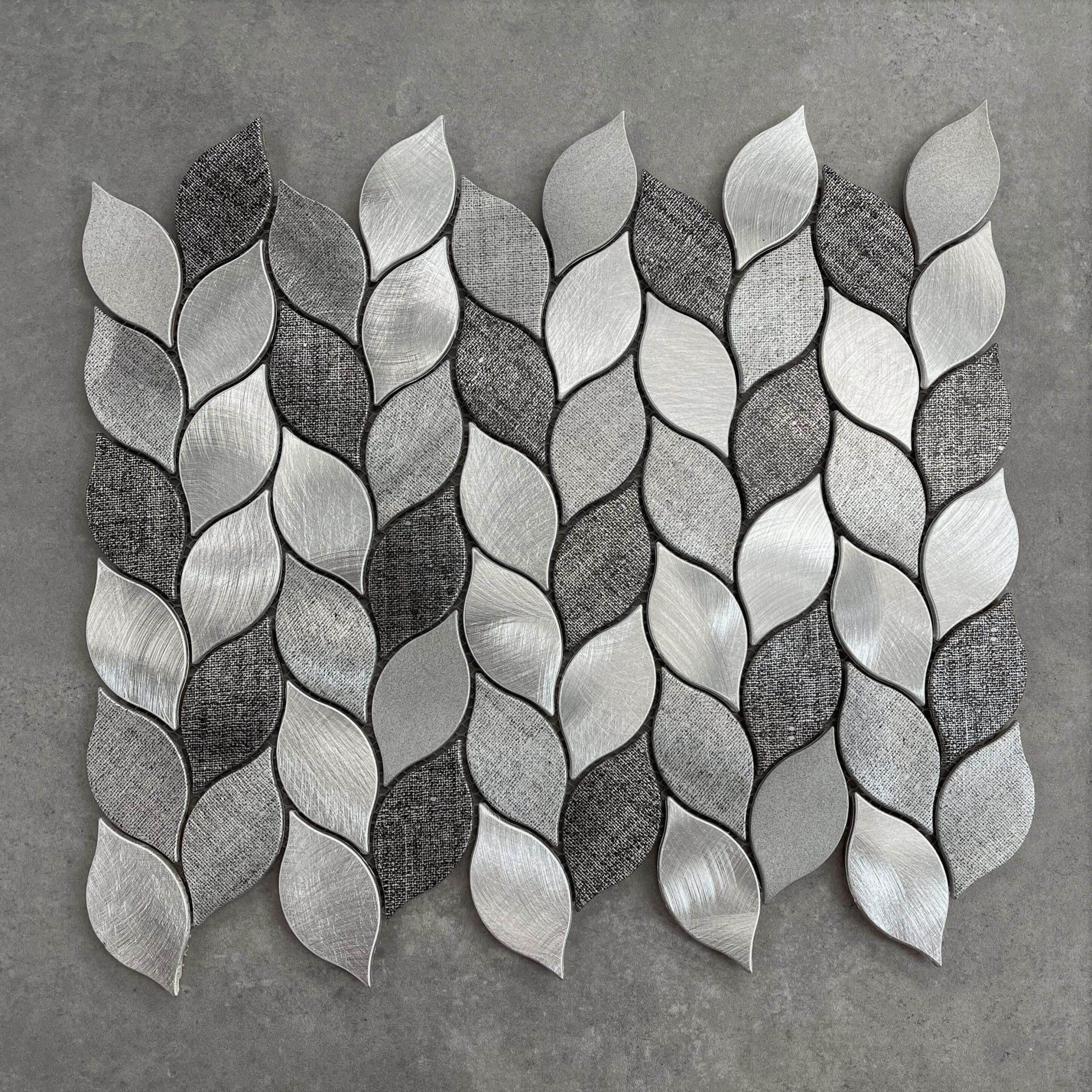 Leaf Light & Dark Grey Aluminium Mosaic 7425