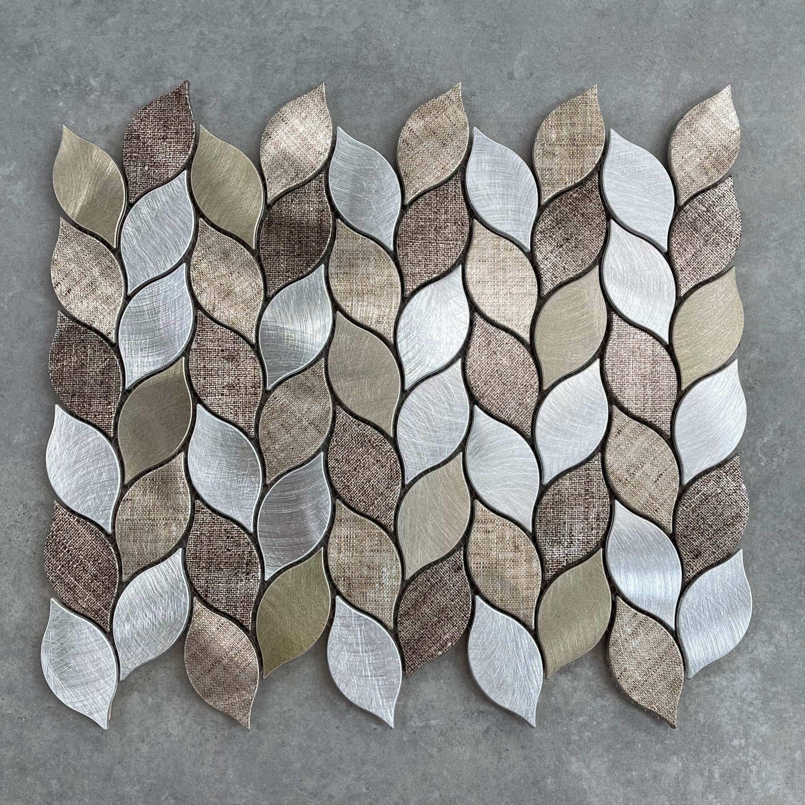 Leaf Taupe & Grey Aluminium Mosaic 7426