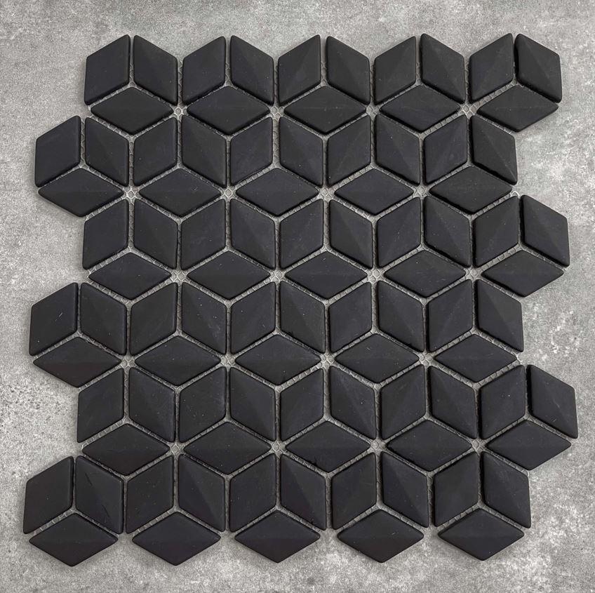 3D Effect Diamond Black Glass Mosaic 7446