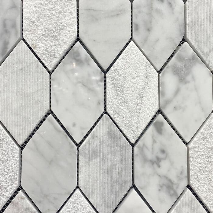 280×305 Long Hexagon Mixed Surface Carrara Mosaic 7500