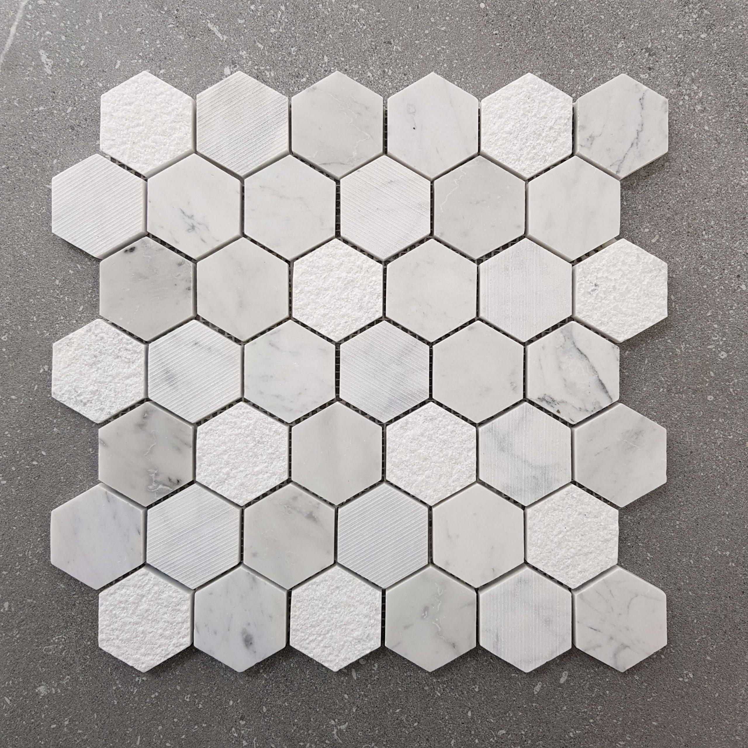 300x305mm Mixed Finish Carrara 48mm Hexagon Marble Mosaic 7552