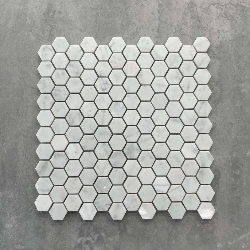 Hexagon Polished Carrara Marble Mosaic 25mm 7555