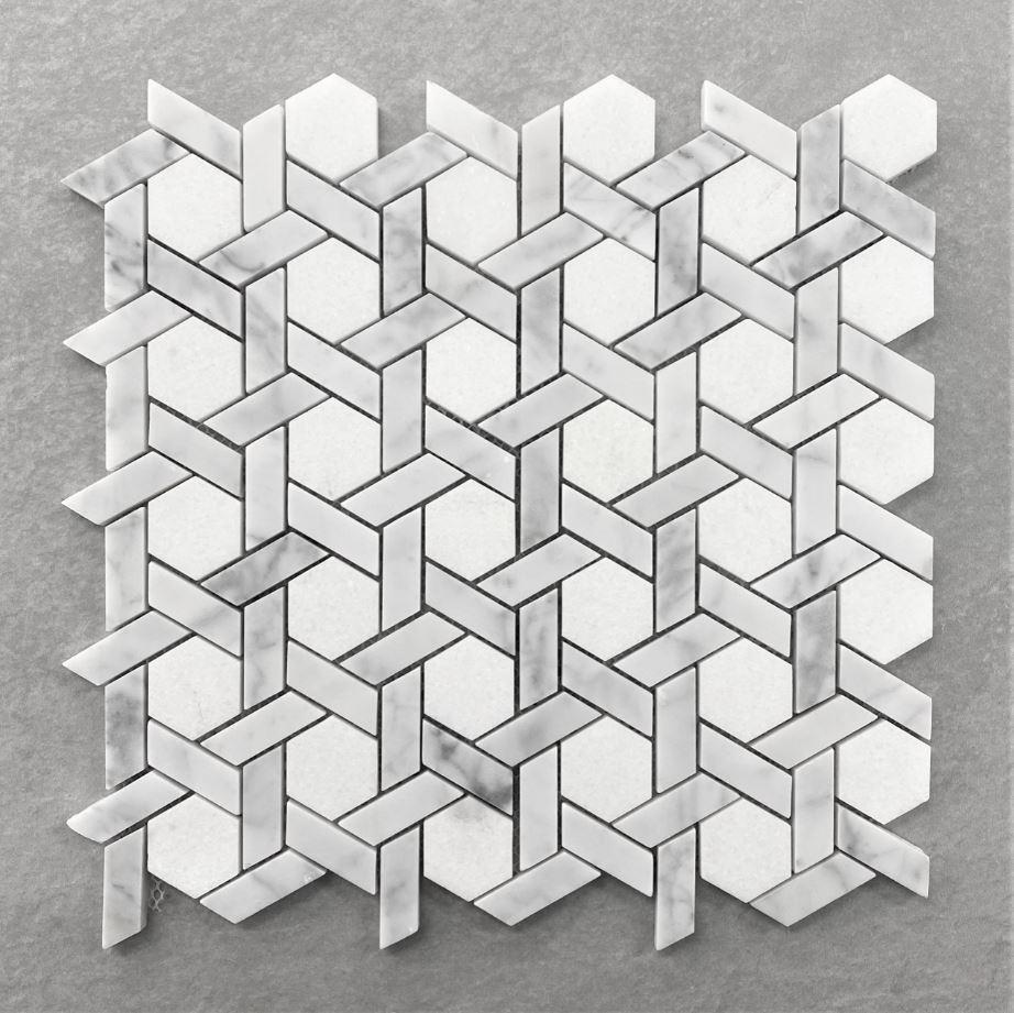 Tessellated Pattern Honed Carrara Marble Mosaic 7587