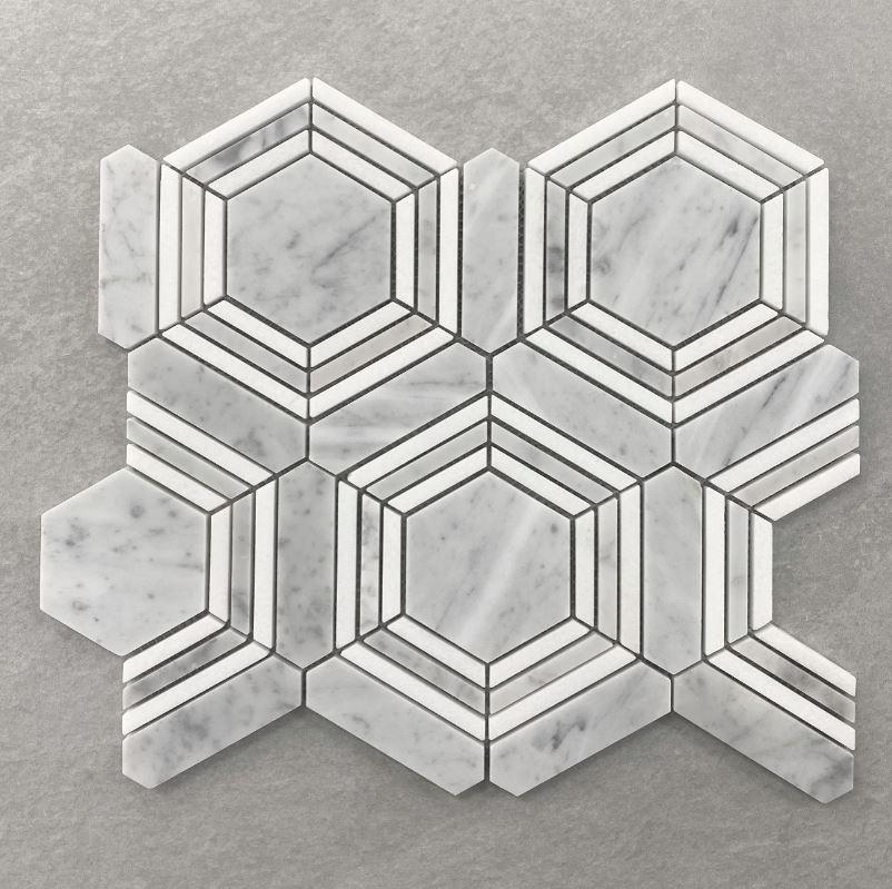 Geometric Hexagon Honed Carrara Marble Mosaic 7588