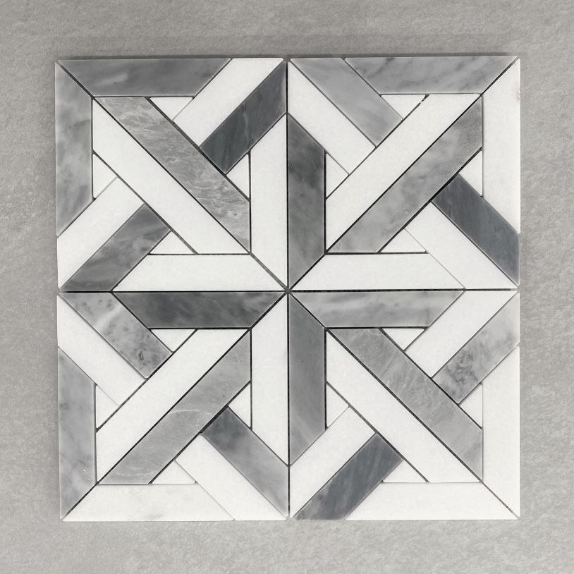Parquetry Honed Carrara & Grey Marble Mosaic 7592