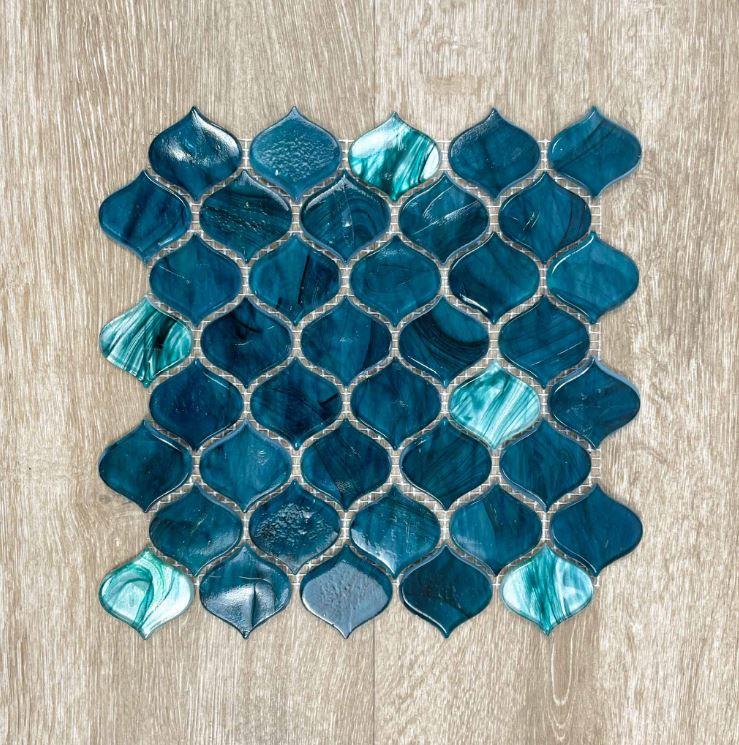 Moroccan Blue Arabesque Lantern Glass Mosaic 7599