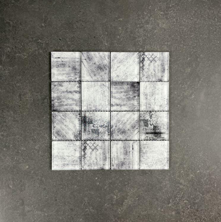 Baroque Grey Smeared Glass Mosaic 7602