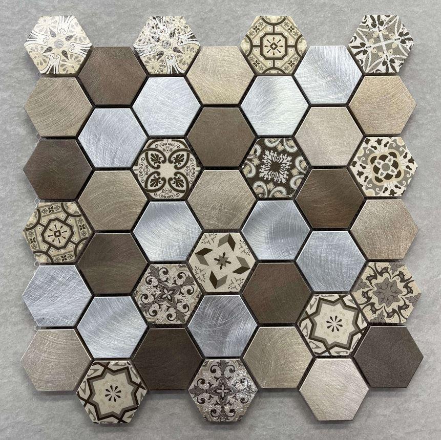 Mixed Geometric Hexagon Aluminium Mosaic 7603