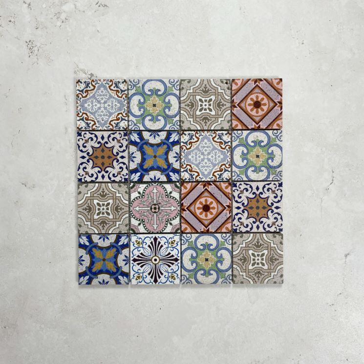 Mini Spanish Encaustic Pattern Stone Mosaic 7604