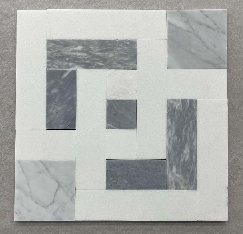 Carrara White Crystal and Grey Mosaic 7608