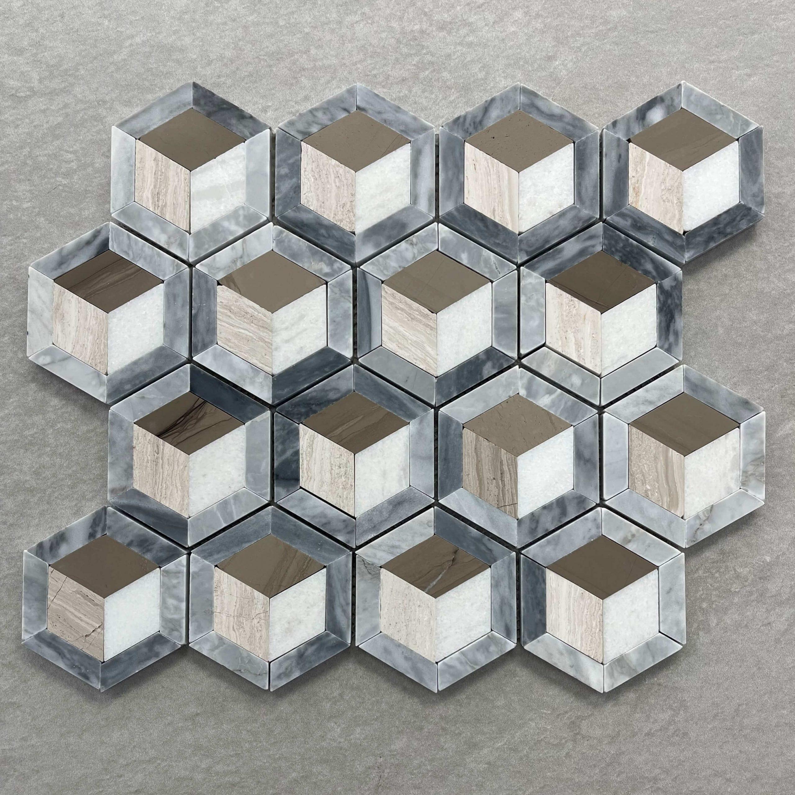 3D Carrara Grey Crystal White and Woodgrain Mosaic 7609