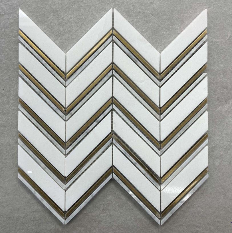 Carrara White & Gold Chevron Mosaic 7613