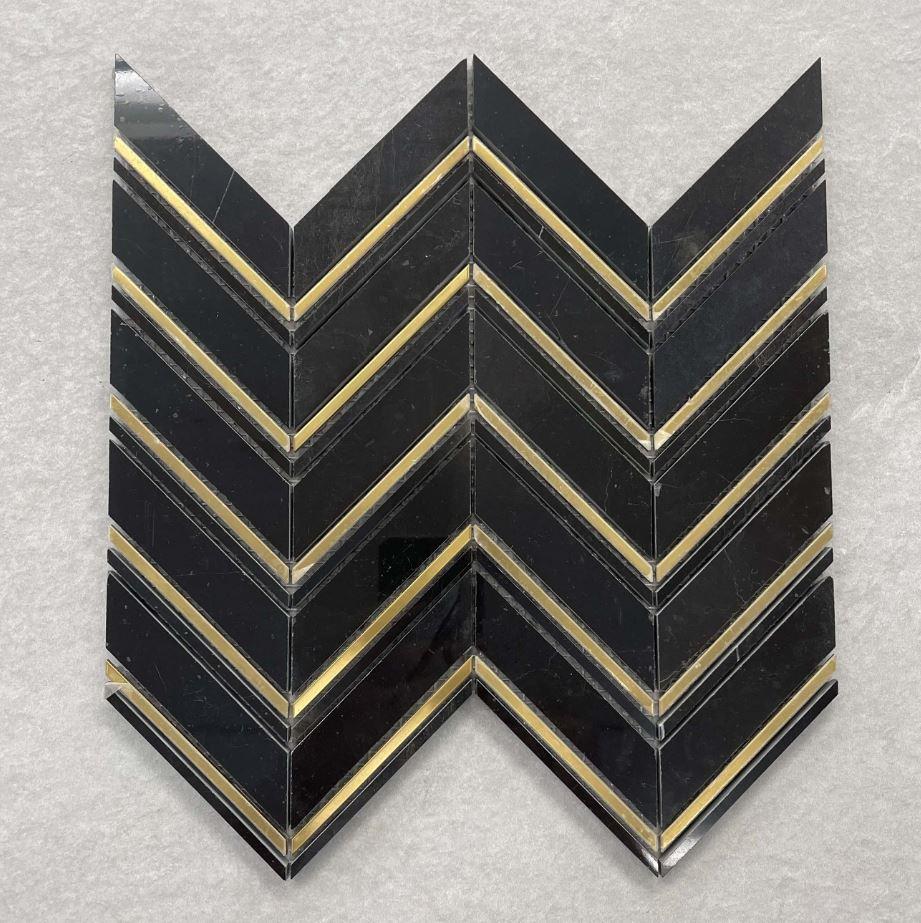 Black & Gold Chevron Mosaic 7614