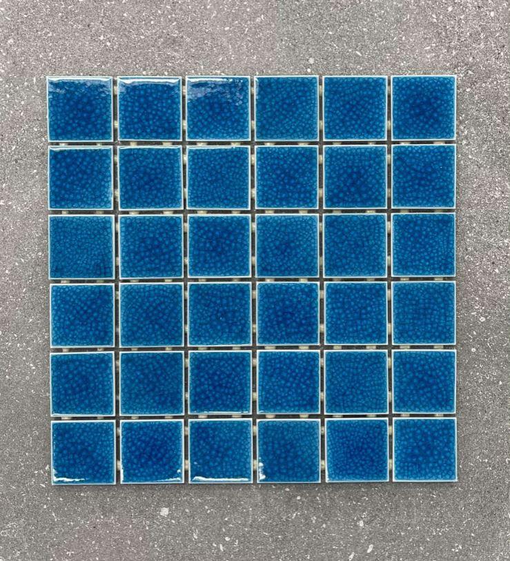 Aqua Blue Doubled Glazed Craquelure Porcelain Mosaics 48x48mm 7616