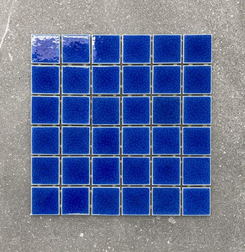 Dark Blue Doubled Glazed Craquelure Porcelain Mosaics 48x48mm 7617