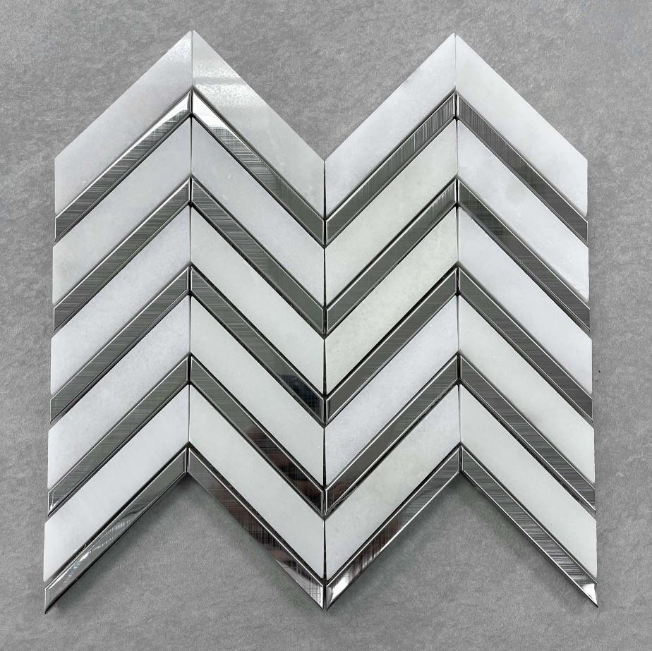 White Carrara and Silver Chevron Mosaic 7636