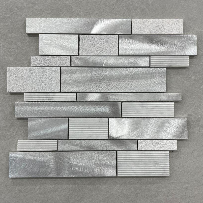 Brick Pattern Brushed Aluminium Mosaic 7637
