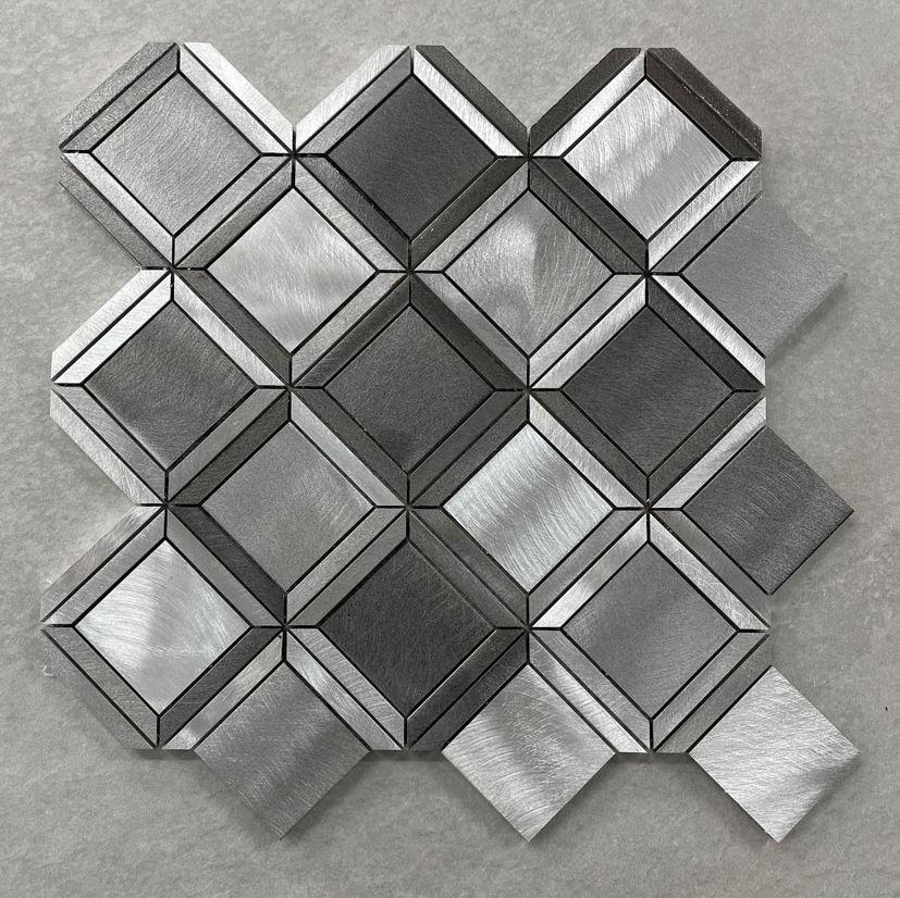 Silver & Grey Brushed Aluminium 3D Effect Mosaic 7639
