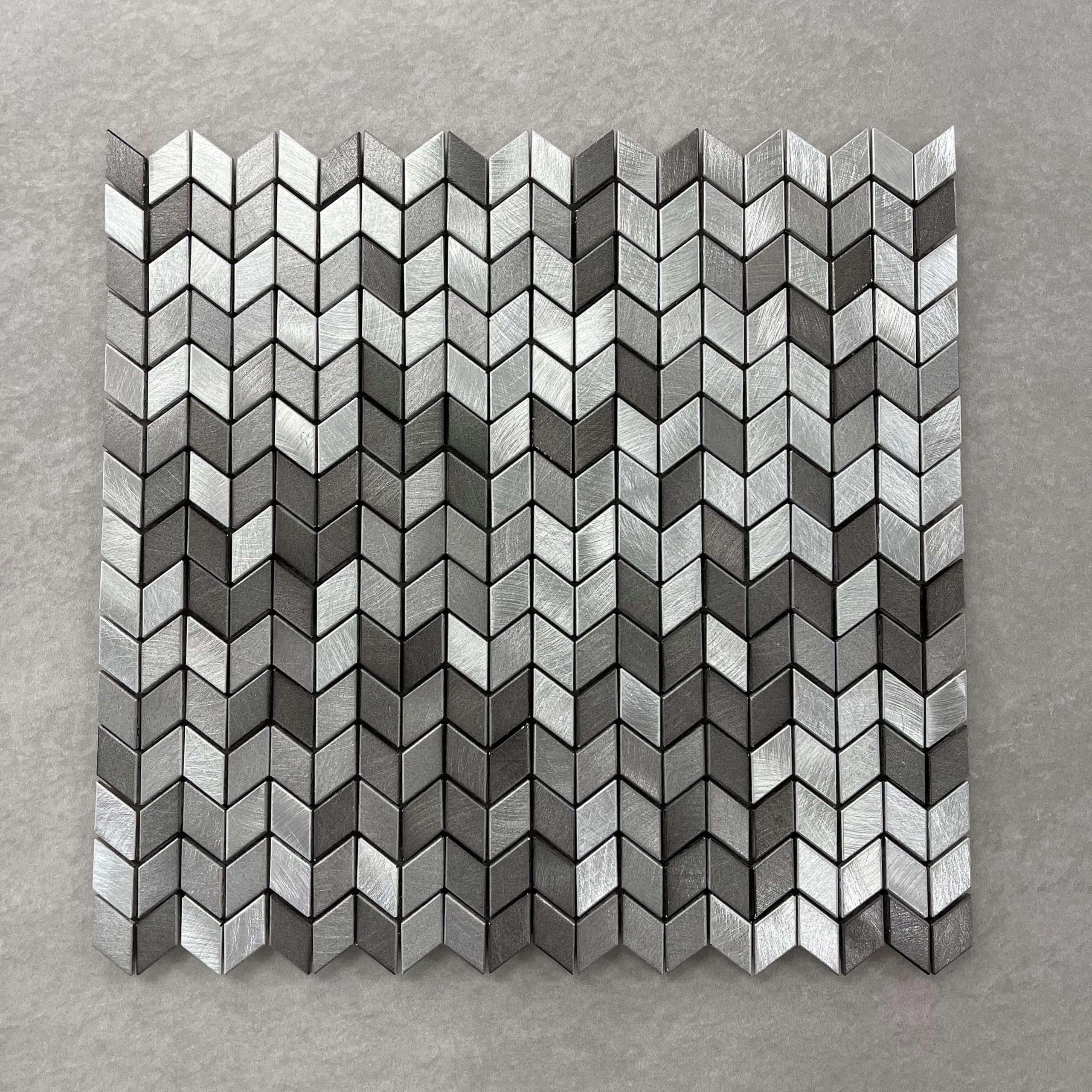 Brushed Aluminium Light Grey and Dark Grey Mosaic 7642