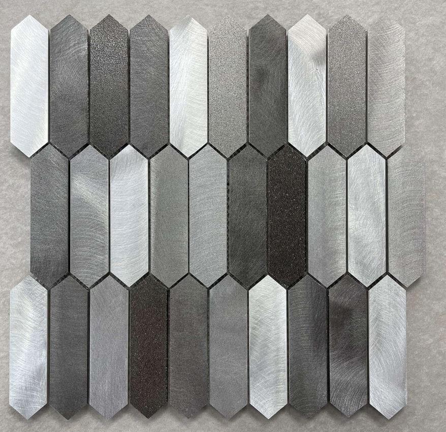 Arrow Shaped Mixed Grey Brushed Aluminium Mosaic  7644