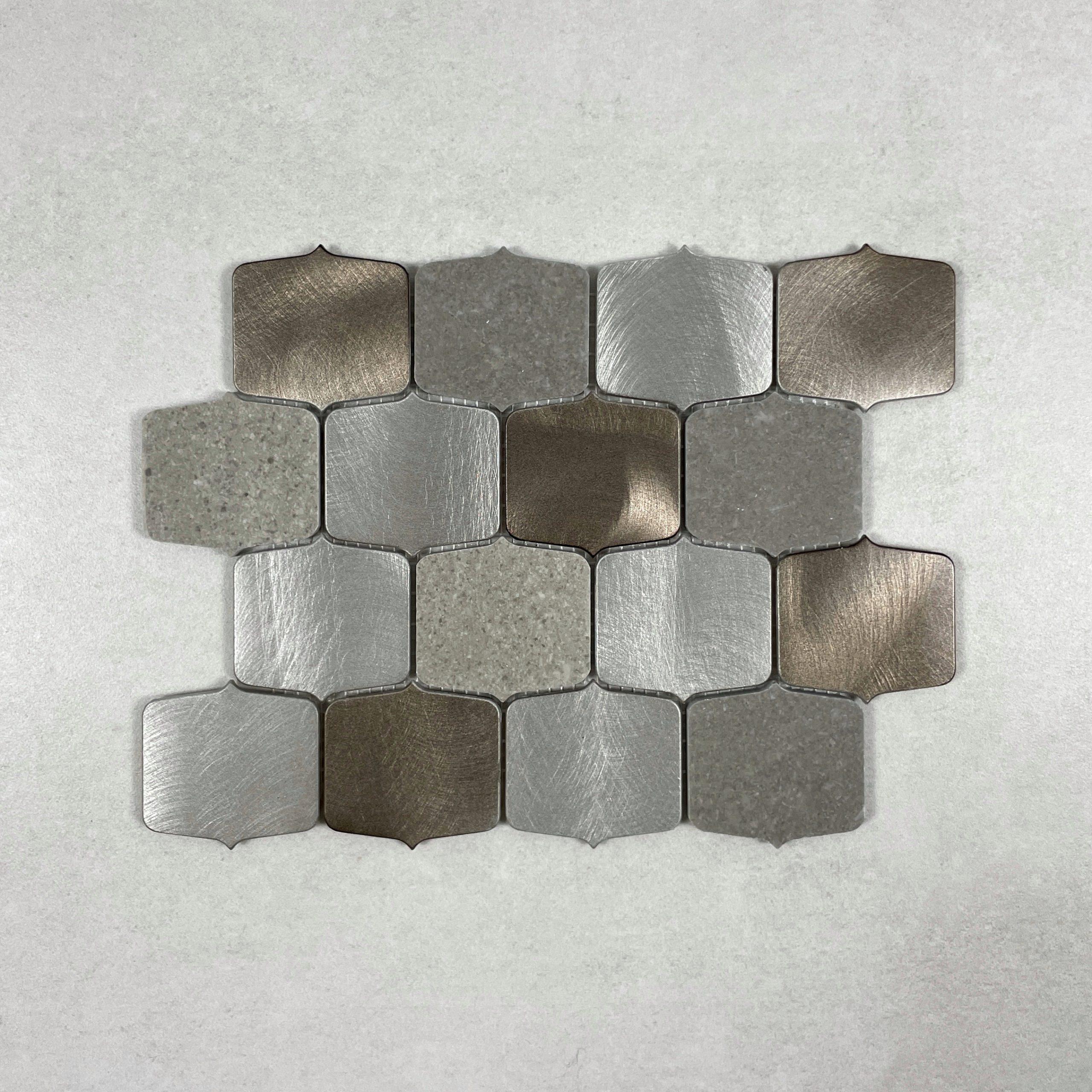 Ogee Silver/Rose Gold Brushed Aluminium Mosaic 7646