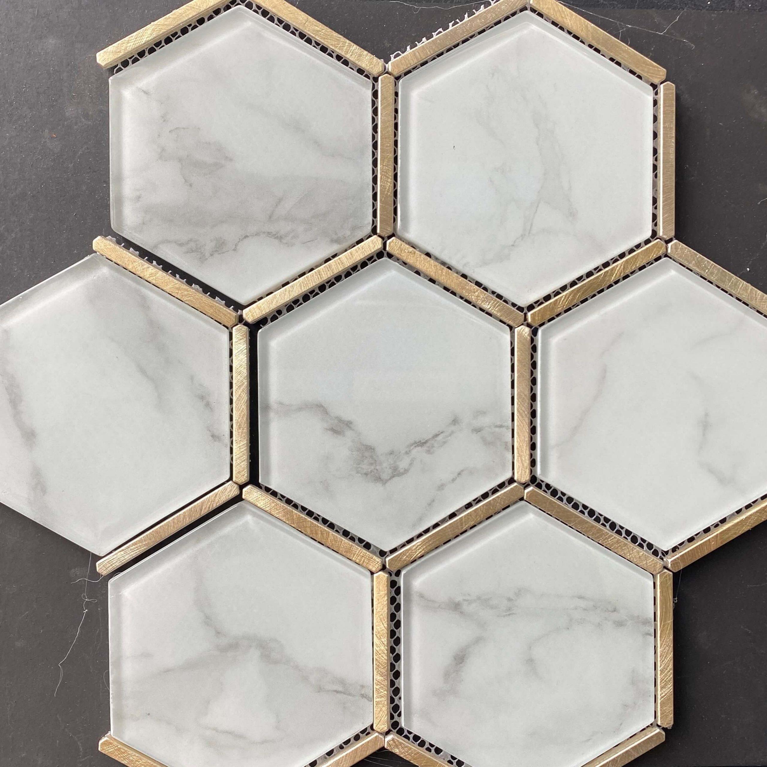 Carrara Look Hexagon Glass Mosaic with Gold Aluminium Trims 222x382mm 7940