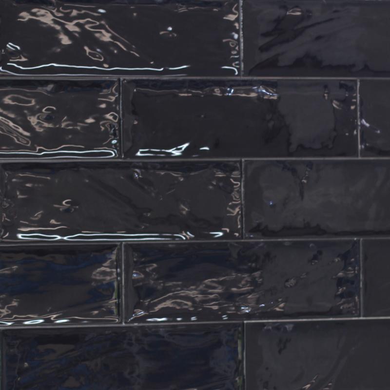 100x300mm Bulevar Black Gloss Spanish Wall Tile 4060