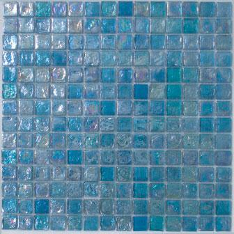 Crystal Ocean Blue Glass Mosaic Tile (20x20x8mm Mosaic Sheet) (#7046)