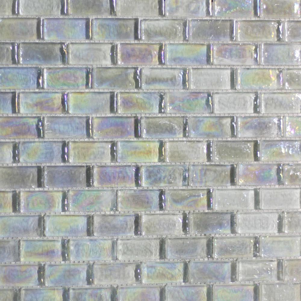 Crystal White Glass Mosaic Tile (20x42x8mm Mosaic Sheet) (#7045)