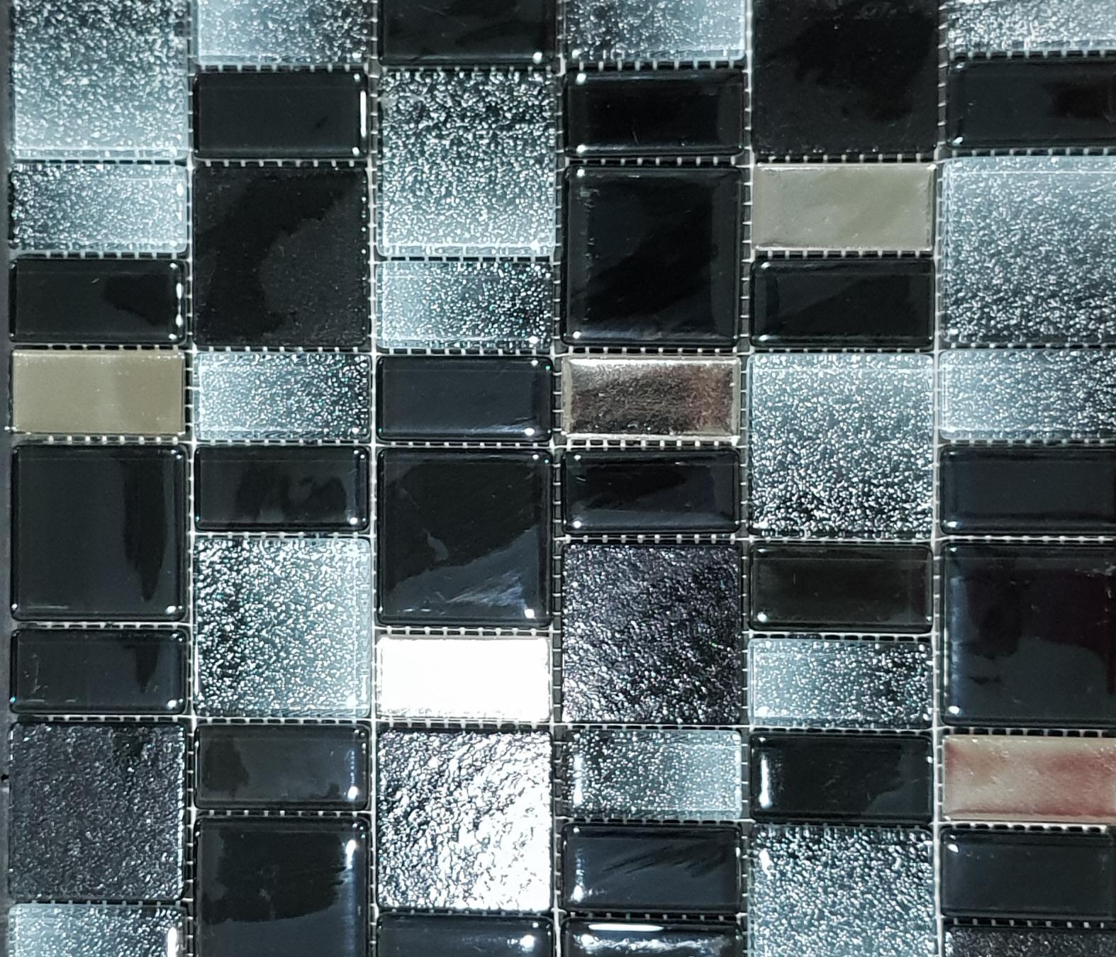 Dazzle Black Mixed Glass Mosaic Sheet 300x300mm 7289