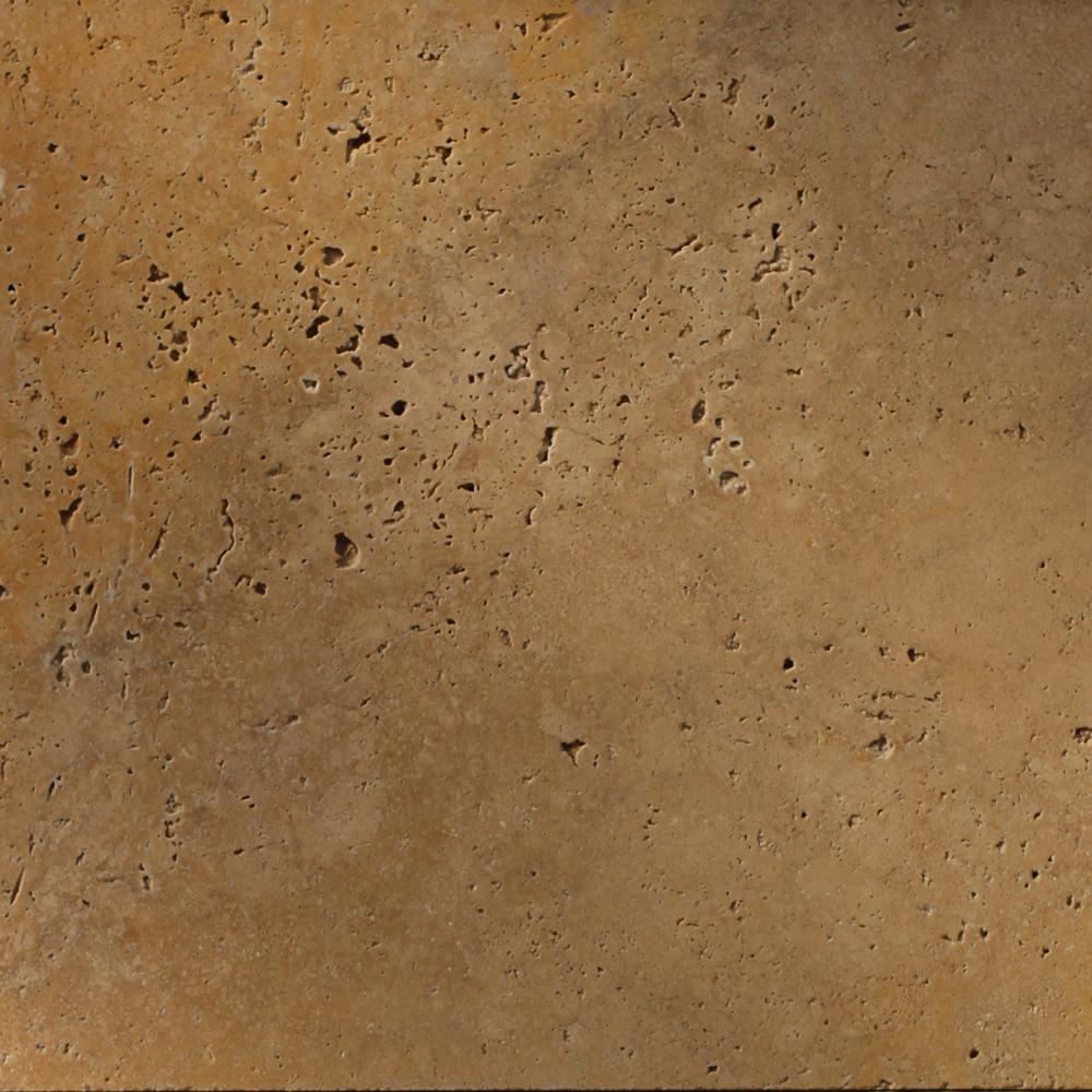 406x406x12mm Fine Grade Unfilled Tumbled Travertine Tile (#8407)