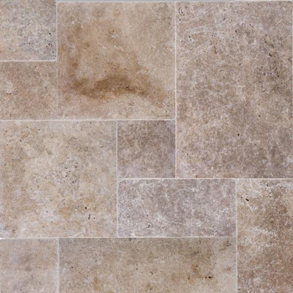 12mm French Pattern Walnut Brushed Finish Travertine Tile (#8091)
