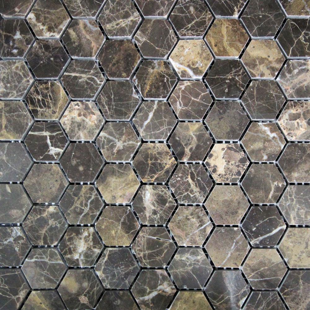Hexagon Dark Emperador Polished Mosaic (320x320mm) (#7071)