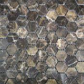 Hexagon Dark Emperador Polished Mosaic