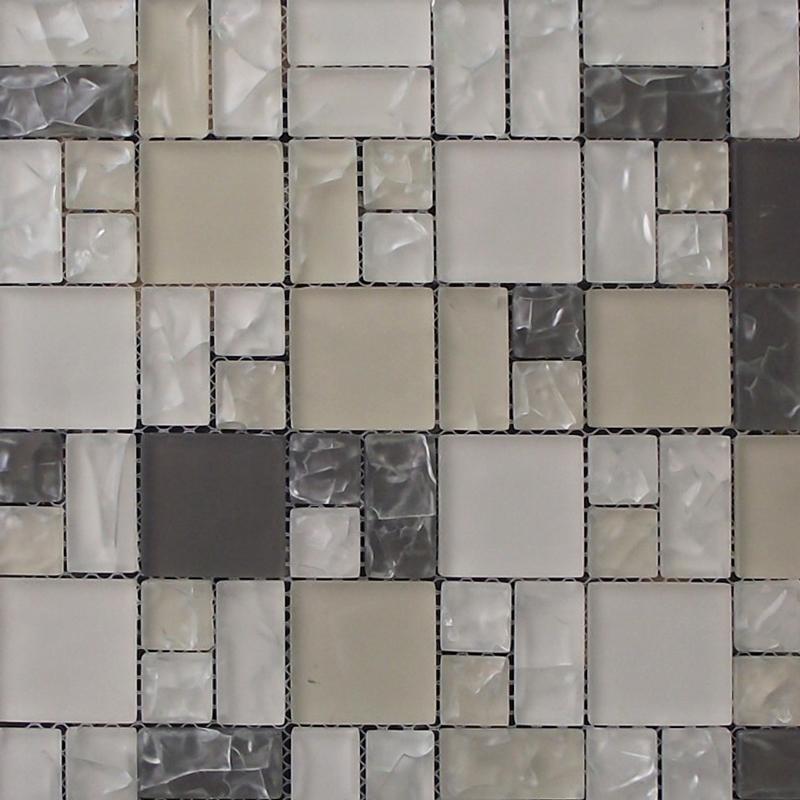 Mixed Size Beige Gloss Finished Mosaic Tile (300x300mm Mosaic Sheet) (#7805)