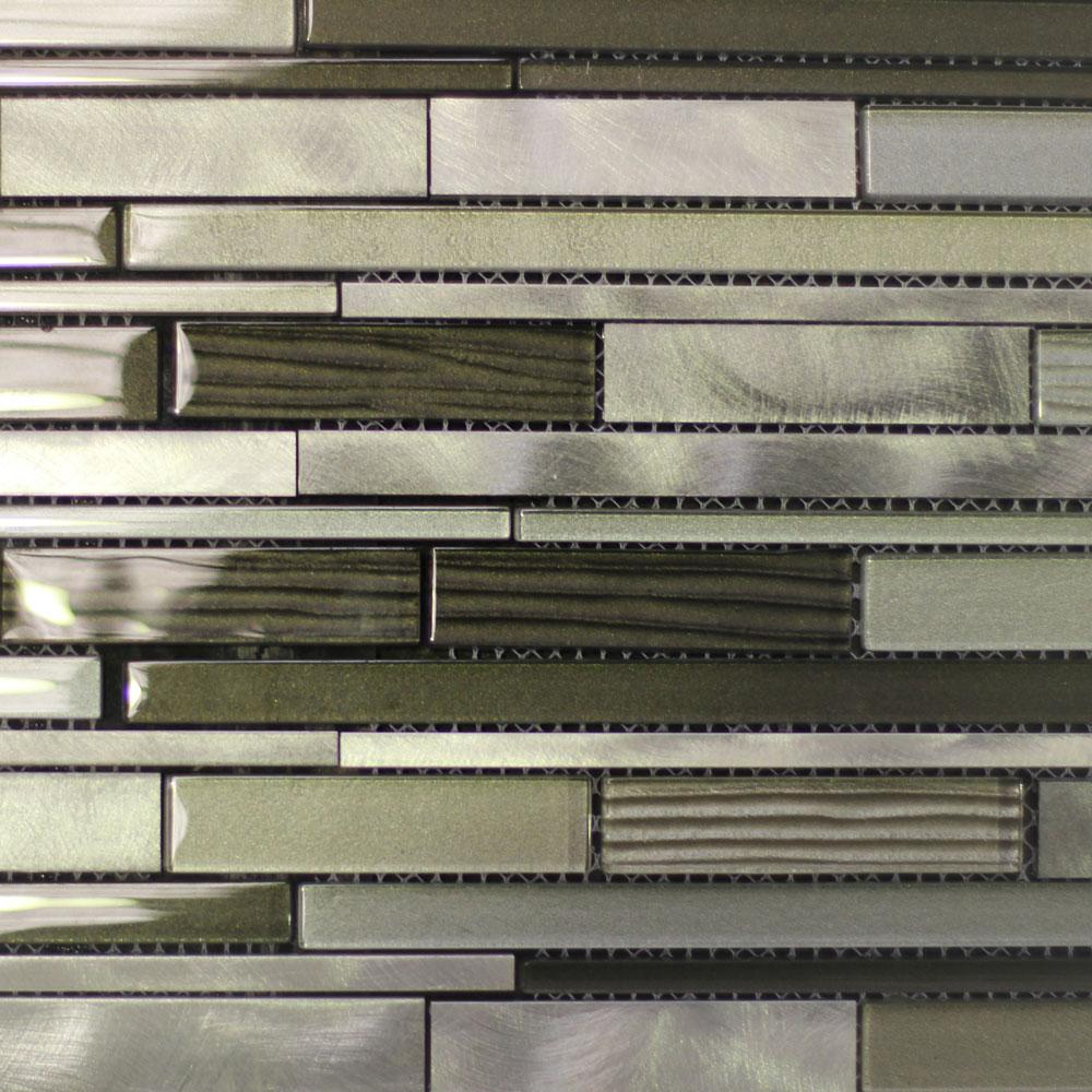 Mixed Size Brushed Strips Mosaic Tile (300x300mm Mosaic Sheet)(#7811)