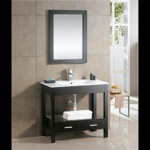 Modern Black Timber Look Vanity Set With Mirror