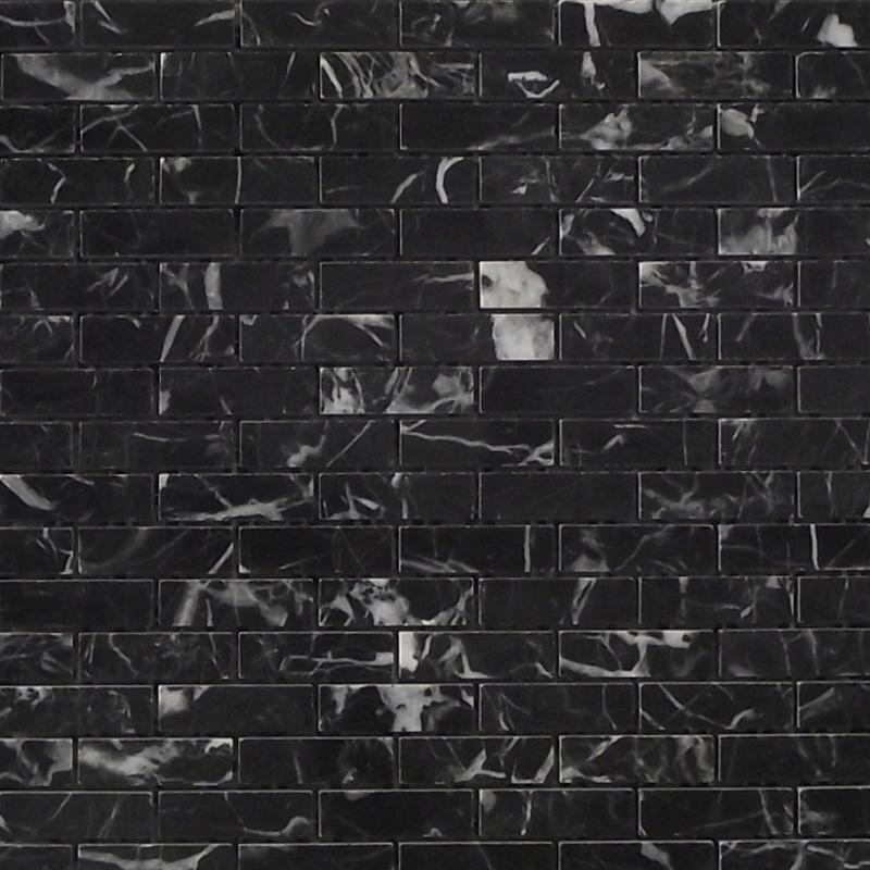 15x150mm Nero Margiuna Polished Marble (300x310mm Mosaic Sheet) (#7179)