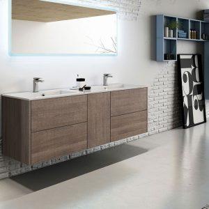 Noce Wall Hung Vanity-Double Basins