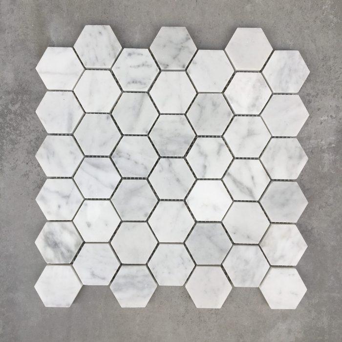 300x305mm Hexagon Polished Carrara 48mm Marble Mosaic 7557