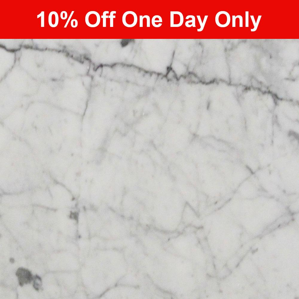 457x457x10mm Polished Bianco Carrara Bevelled Italian Marble Tile (#8326)