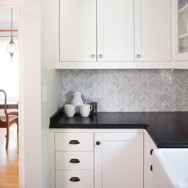 Only 15 Sheet Polished Bianco Carrara Herringbone Marble Mosaic