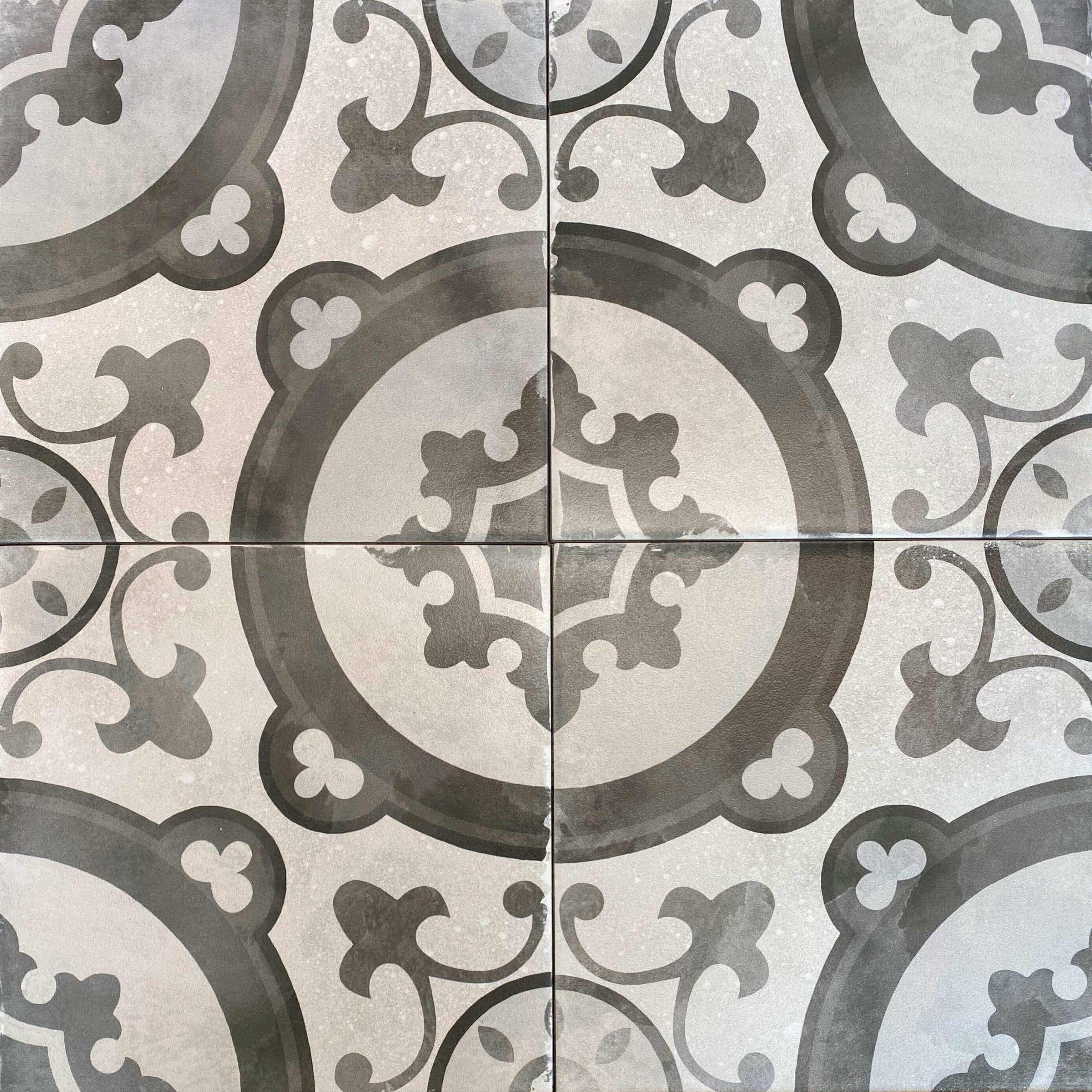 Retro Grey & White Matt Patterned Non Rectified Glazed Porcelain Wall & Floor Tile 200x200mm 3447