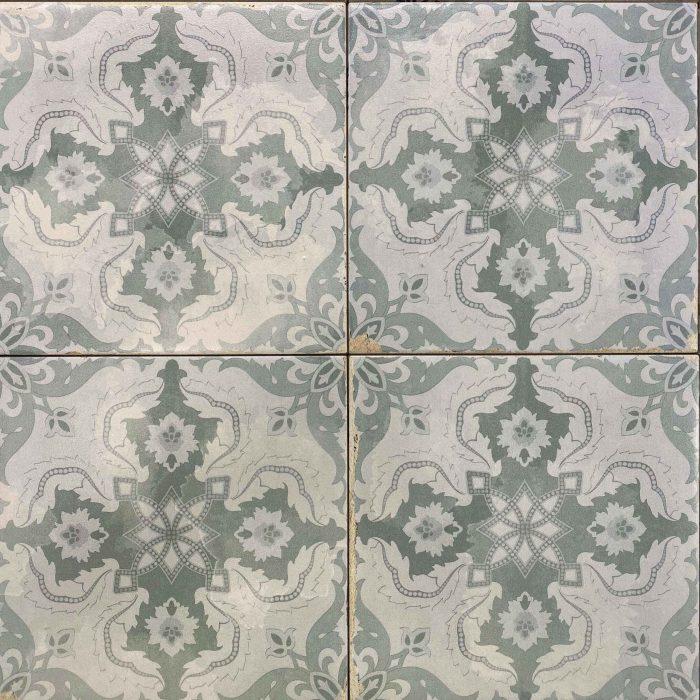 Retro Light Green and White Matt Floral Pattern Non Rectified Glazed Porcelain Tile 3451